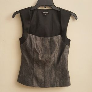 Bebe Peplum Style Black and Gray Tweed Top